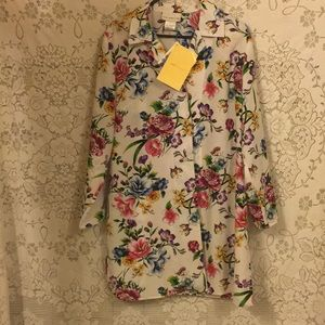 QVC Flower & Butterflies Ladies Long Shirt SzL NWT